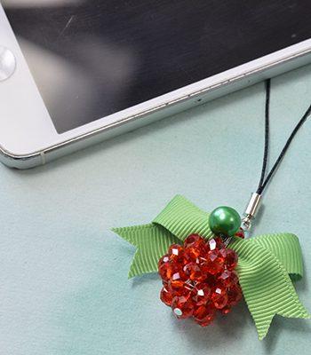 Beaded Christmas Ball Keychain
