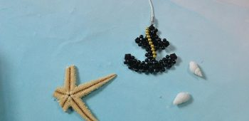 Beaded Anchor Keychain
