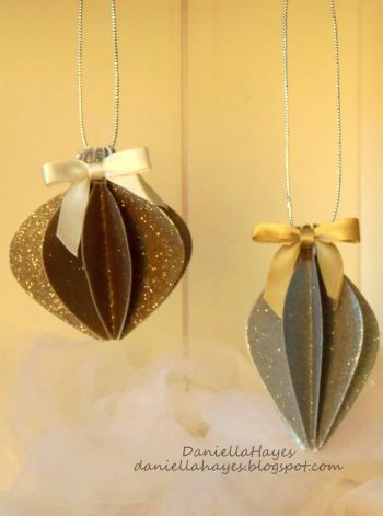 Glittery Paper Christmas Ornaments