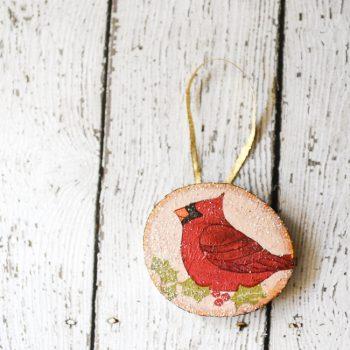 Rustic Wood Decoupage Ornament