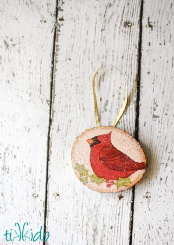Rustic Wood Decoupage Ornament