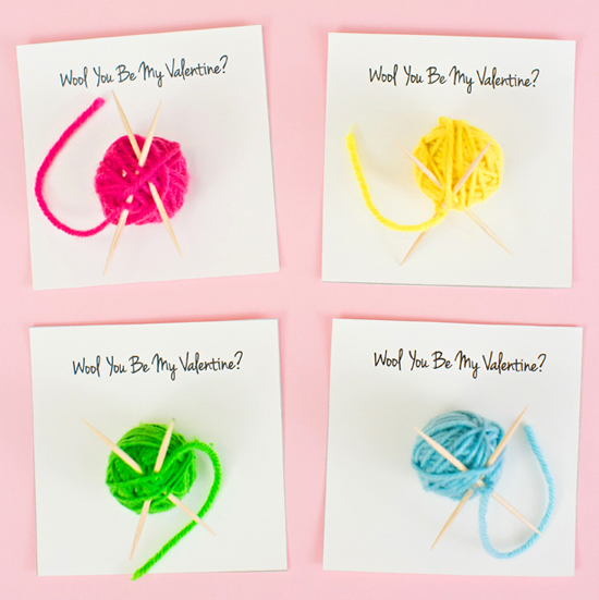 Yarn Ball Valentine Cards