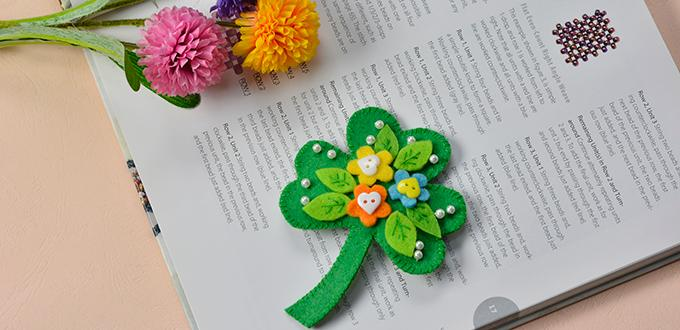 Are you seeking for easy designs for brooches? Today I will show you how to make a green felt leaf brooch with buttons and pearls decorated. With simple supplies and easy steps, I believe you can make it out within 30 minutes! Let's go!