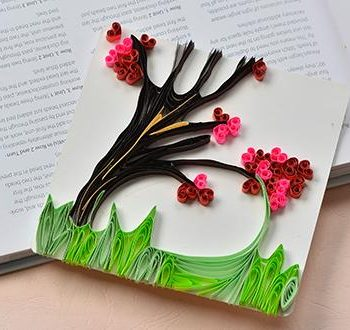 Quilled Blossoming Tree Greeting Card