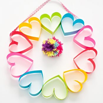 Rainbow Heart Paper Wreath