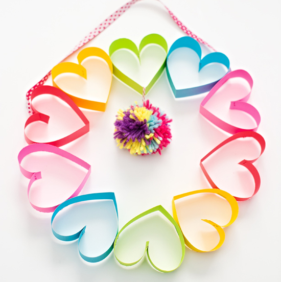 Rainbow Heart Paper Wreath