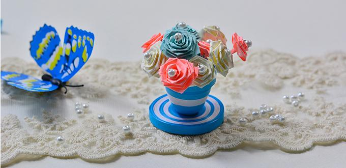 Quilled paper flower pot and flowers fun family crafts how to make a blue quilling paper flower pot and flowers for home dcor ccuart Image collections