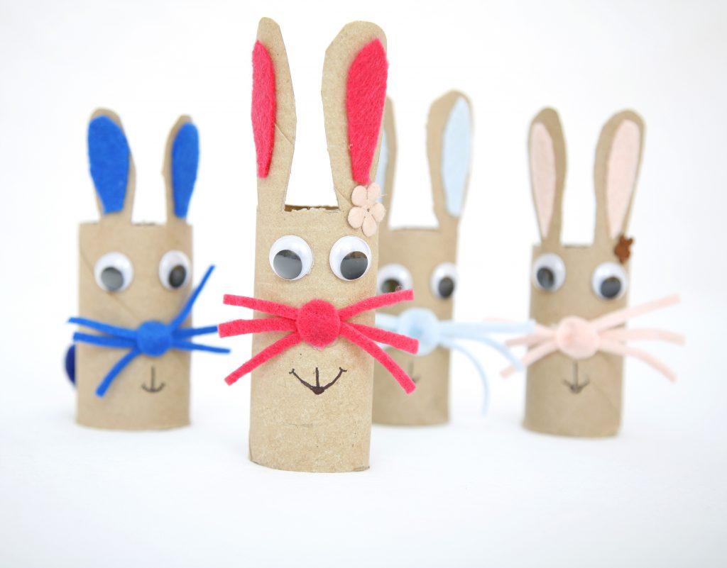 Learn how to make a simple DIY Easter bunny toy out of toilet paper / towel paper roll. Fun craft for kids.