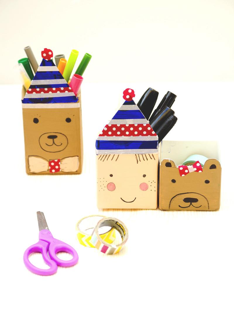 Milk Carton Characters Desk Organizer Fun Family Crafts