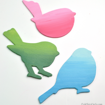 Ombre Painted Spring Birds