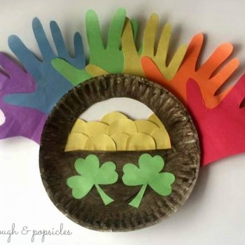 Paper Plate Pot of Gold and Hand Print Rainbow