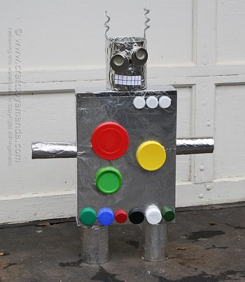Turn empty boxes, lids, cans and other items into a one-of-a-kind robot. Let your imagination run wild with this recycled craft!