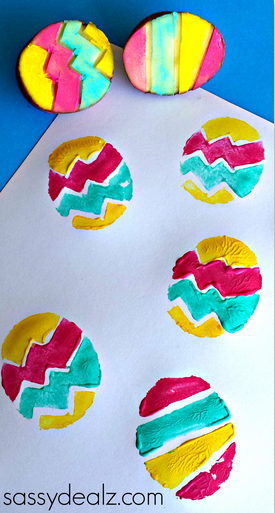 Carve a potato to make your own fun Easter Egg stamps!