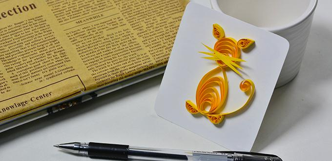 Family Craft Project - How to Make a Cute Yellow Quilling Paper Cat