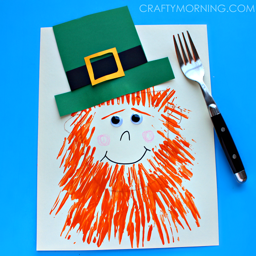fork painted leprechaun fun family crafts