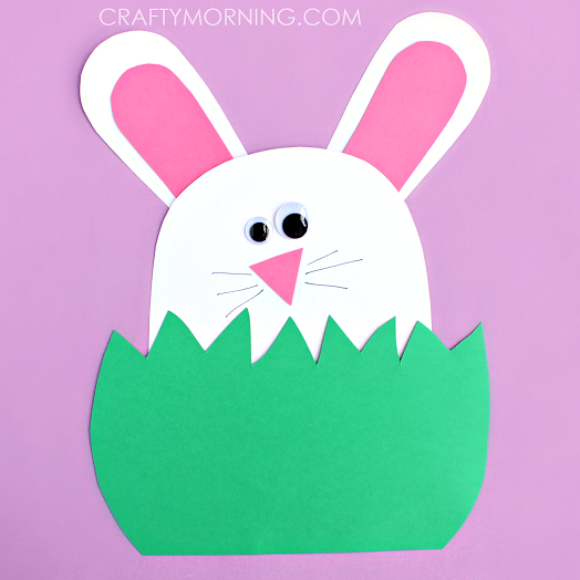 Paper Bunny Hiding In The Grass Fun Family Crafts