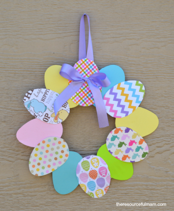 This paper Easter wreath is a cute and easy way for kids to help with the Easter decorations.