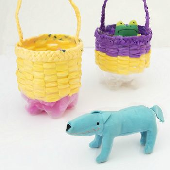 Recycled Woven Bottle Basket Craft