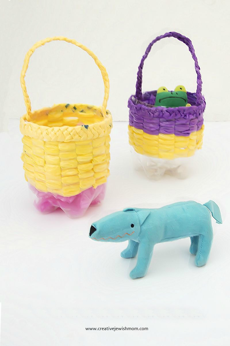 Basket Weaving Using Recycled Materials : Recycled woven bottle basket craft fun family crafts