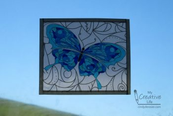 Turn coloring pages into beautiful faux stained glass.
