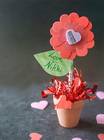 Pencil and Sharpener Flower Valentine