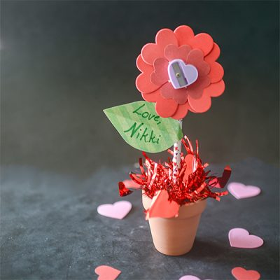 Pencil and Sharpener Flower Valentine