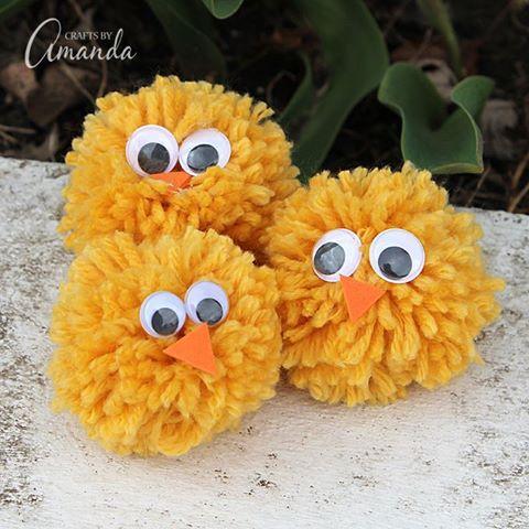 Make pom pom chicks from yarn, an easy Easter craft for kids.