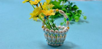 Home Decor Craft – Making Cute Blue and White Glass Pearl Beaded Basket