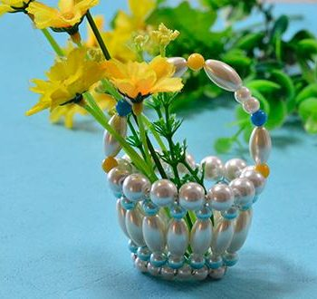 Miniature Beaded Basket