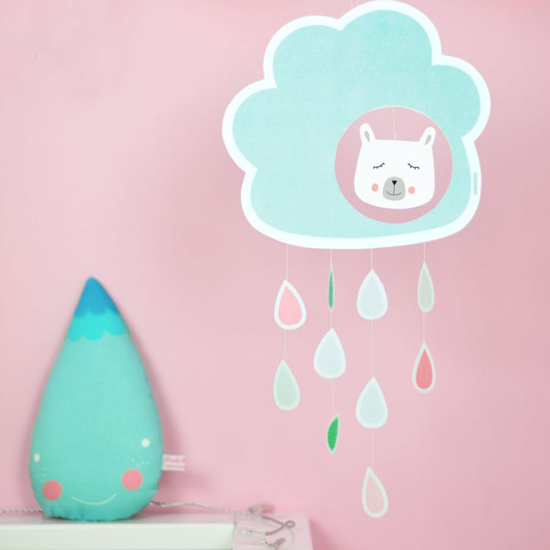 Free Printable Paper Rain Cloud Mobile