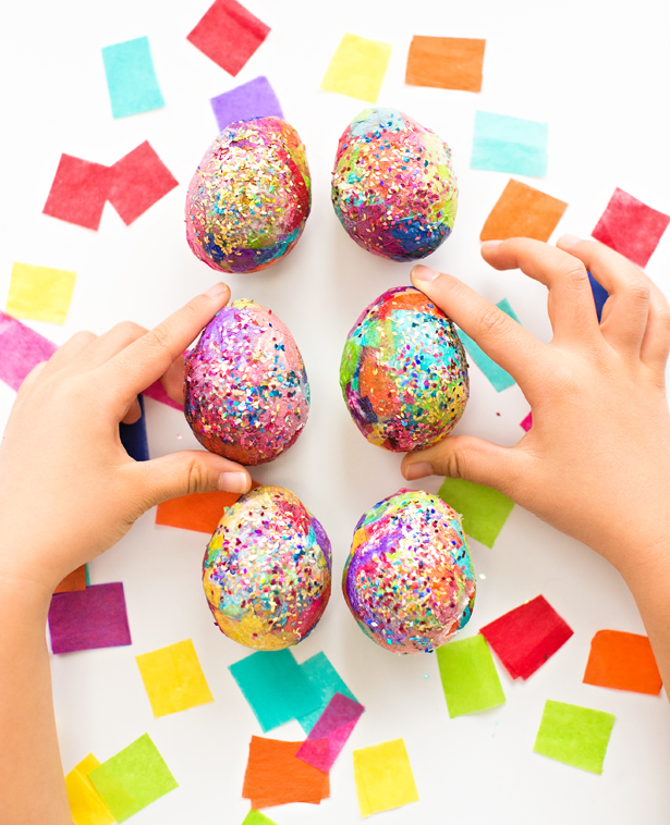 These paper mache glitter eggs are so sparkly and colorful! They're ...