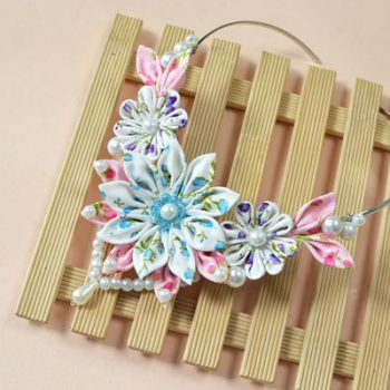 Ribbon Flower Collar Necklace