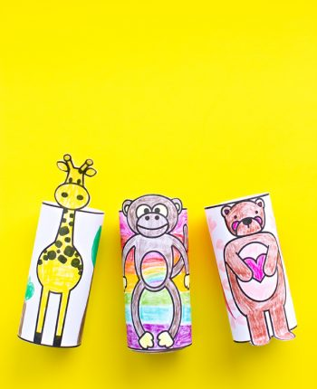 Animal Coloring Paper Tube Printables