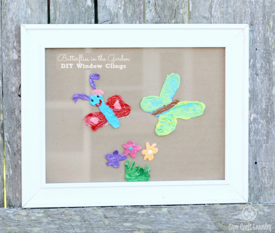 Fun family craft for spring. Make an easy homemade window clings of butterflies and flowers.