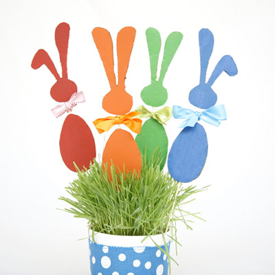 Make bunnies on a stick for your kids to play with or use them as Easter decoration