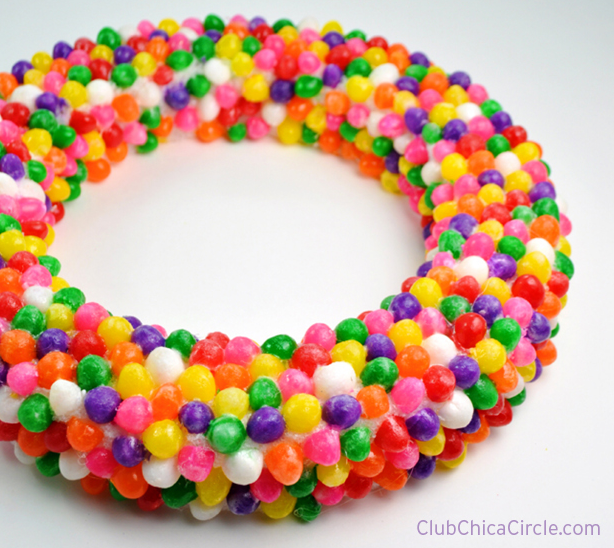 Learn how to make a pretty Spring wreath using jelly beans!