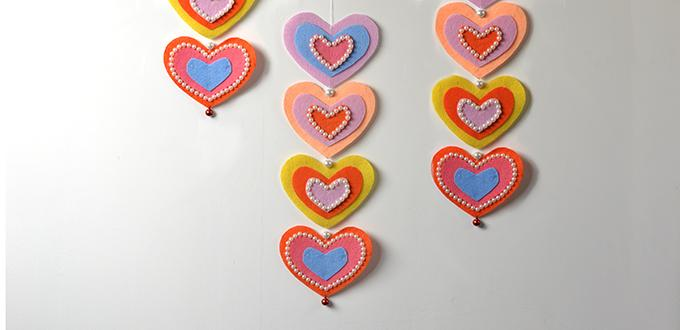 How to Make Pretty Felt Heart Hanging Ornaments with Pearl Decorated