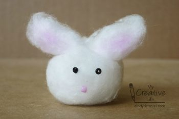 This adorable bunny is made from a cotton ball.