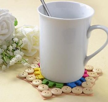 Wooden Button Cup Coaster