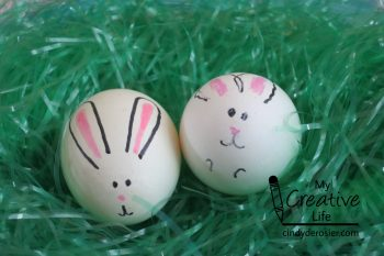 Decorate raw or hardboiled eggs to look like bunnies.
