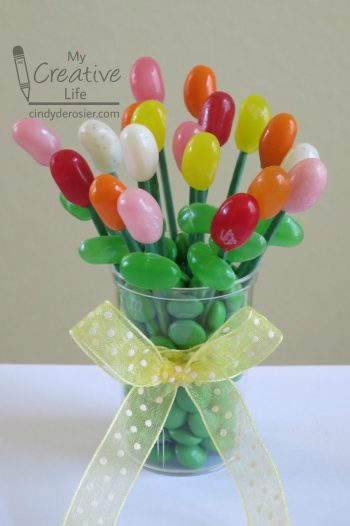 Make a pretty bouquet out of jelly beans and other candy!