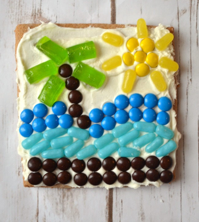 These candy mosaics encourage creativity in young artists, but are also fun to eat!