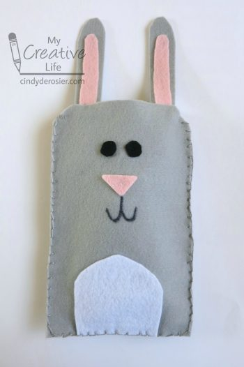 Protect electronics with a cute bunny case made of felt.