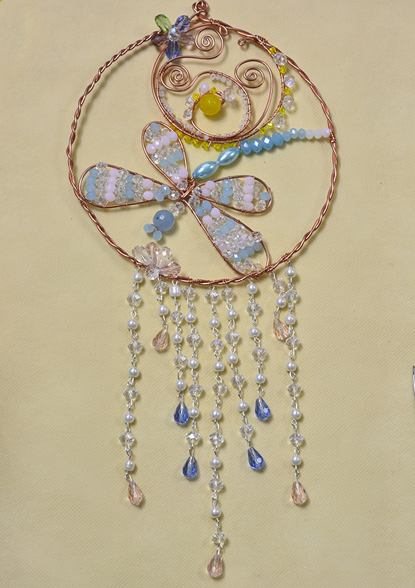 How to Make a Beaded Dragonfly Aeolian Bell Hanging Ornament