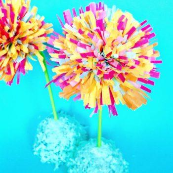 Tissue Paper Fringe Flowers