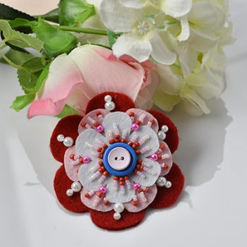 Beaded Felt Flower Pin
