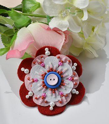 Beaded Felt Flower Pin