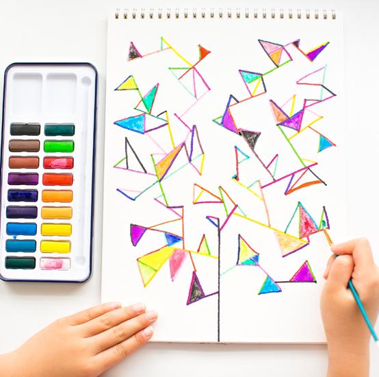 Simple Watercolor Geometry Tree Art