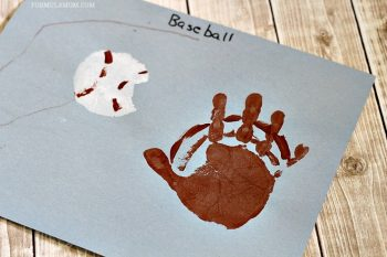 Turn your handprints into a baseball and glove.