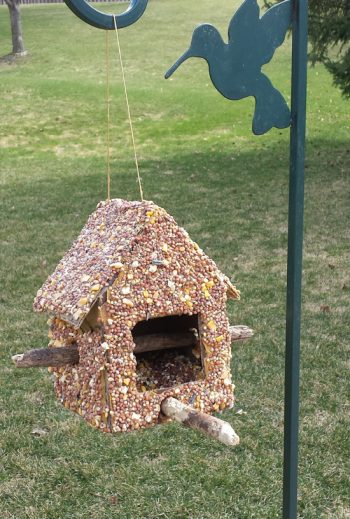 Make this bird feeder using cardboard, sticks and seeds. It's a fun and easy spring or summer craft for kids